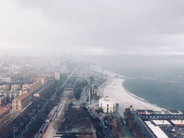 Playa de Barcelona nevada