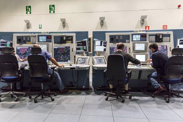Sala del centro de control de ENAIRE
