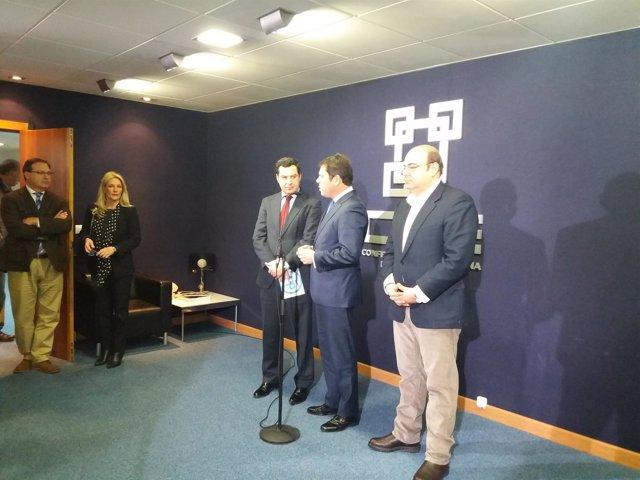 Visita de Juanma Moreno (PP-A) a la Confederación de Empresarios