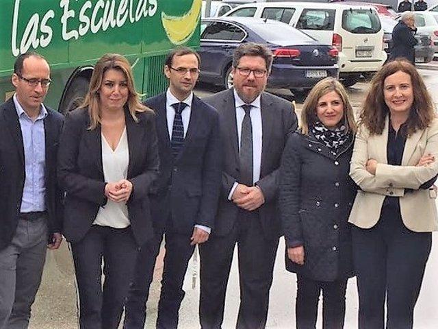 Susana Díaz con el alcalde de Sanlúcar y la presidenta de la Diputación de Cádiz