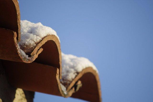 Nieve, frío, hielo, invierno, nevada, tejado