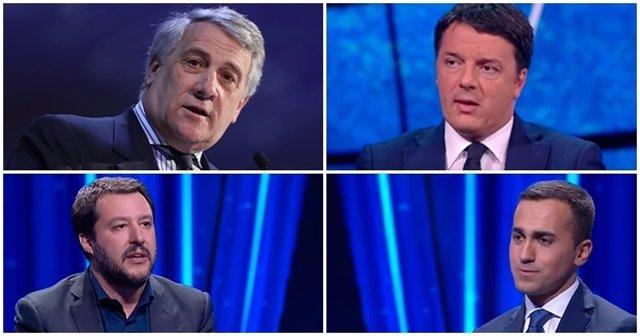 Antonio Tajani, Matteo Renzi, Matteo Salvini y Luigi di Maio