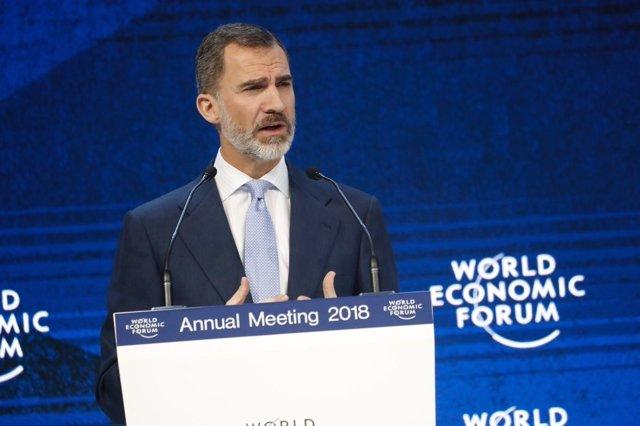 El Rey Felipe VI interviene en el Foro de Davos