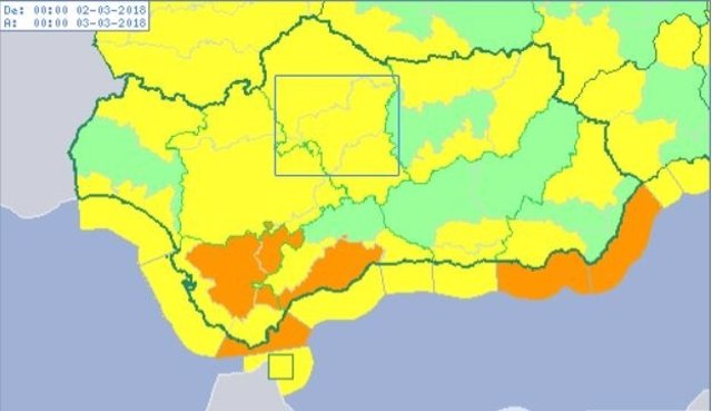 Avisos activos este 2 de marzo en Andalucía por el temporal de lluvia y viento