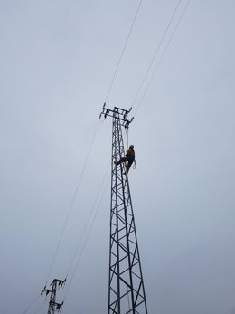 Técnico de Endesa actuando en tendido eléctrico
