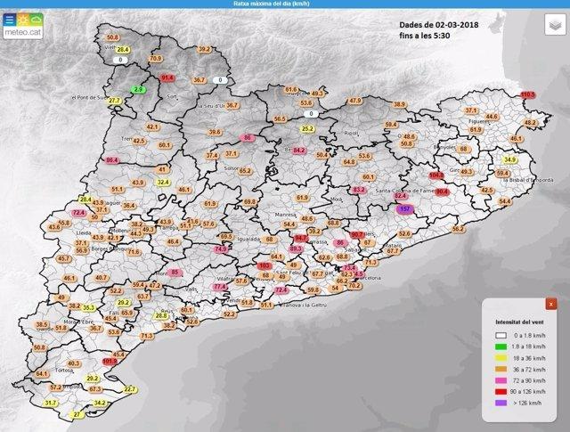 Rachas de viento registradas por el Servei Meteorològic de Catalunya
