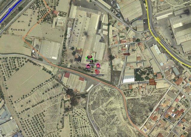 Mapa del lugar del incendio