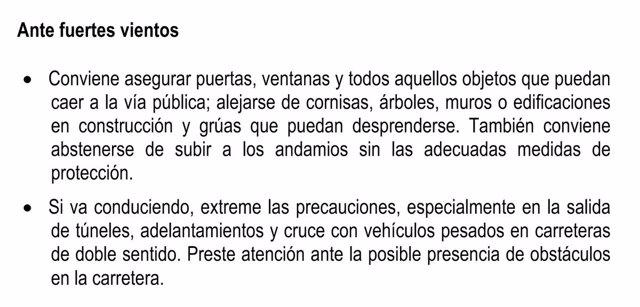 Cuadro descriptivo de la alerta en carreteras del Estado
