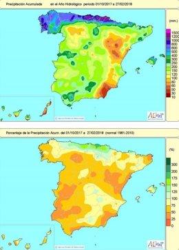 Mapa de lluvias acumuladas en España hasta el 27 de febrero