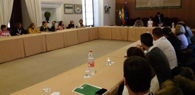 Reunión de Podemos con trabajadores de limpieza de hospitales andaluces