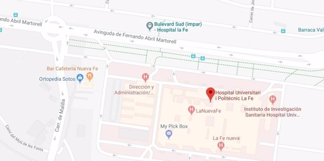 Entorno del Hospital La Fe de València. Bulevar Sur