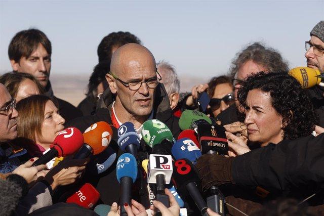 Romeva y Rovira en el acto de campaña de ERC para apoyar a Junqueras