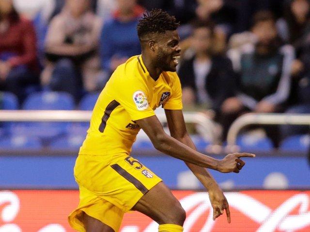Thomas Partey celebra un gol del Atlético de Madrid
