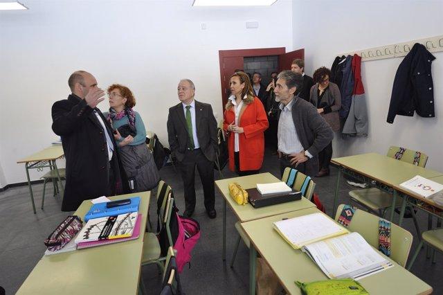 Miguel Gracia y Mayte Pérez han visitado hoy la ampliación del IES de Castejón