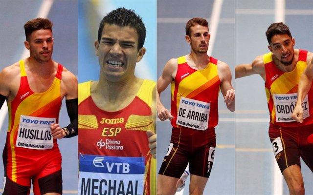 Óscar Husillos, Adel Mechaal, Álvaro de Arriba y Saúl Ordóñez