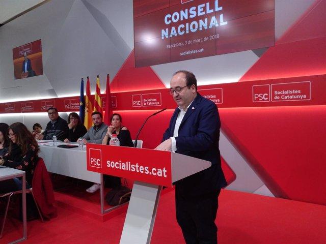 Miquel Iceta ante el Consell Nacional del PSC