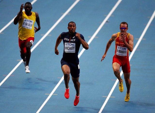 Ángel David Rodriguez en una prueba de 60 metros
