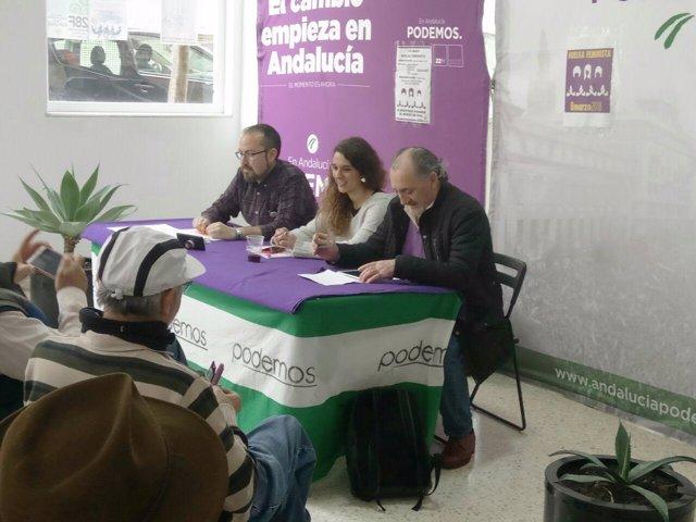 Rueda de prensa de Noelia Vera y Juan Alcántara (Podemos) en Jerez