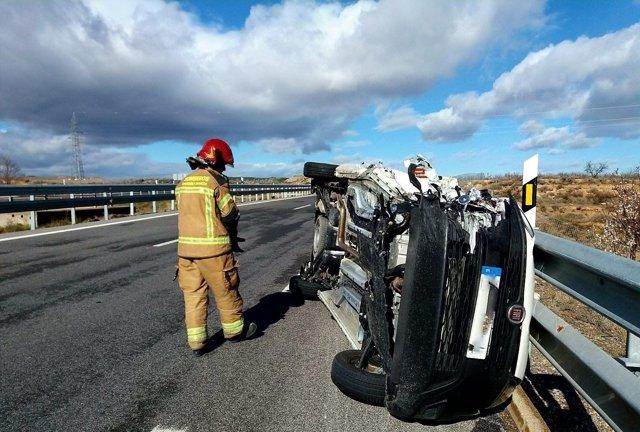 Accidente de tráfico en la AP-68 a la altura de Mallén.