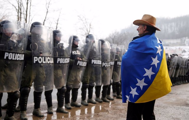 Manifestación de veteranos en Bosnia