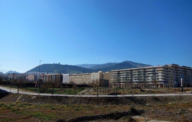 Vista de Jaén con la zona de expansión del Bulevar en primer término.