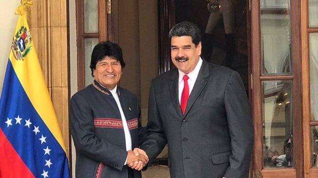 Los presidentes de Bolivia, Evo Morales, y Venezuela, Nicolás Maduro