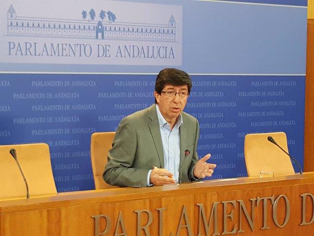 El presidente del grupo parlamentario y portavoz de Cs en Andalucía, Juan Marín