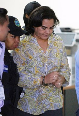 Former first lady Rosa Elena Bonilla de Lobo leaves a court hearing on corruptio