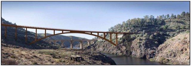 Recreación del nuevo puente de Alcántara