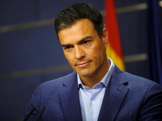 El líder del PSOE, Pedro Sánchez, durante una rueda de prensa