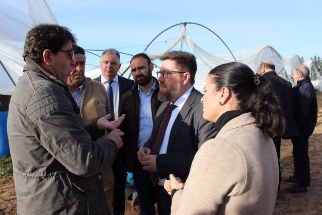 Sánchez Haro, consejero de Agricultura, Pesca y Desarrollo Rural, en Almonte