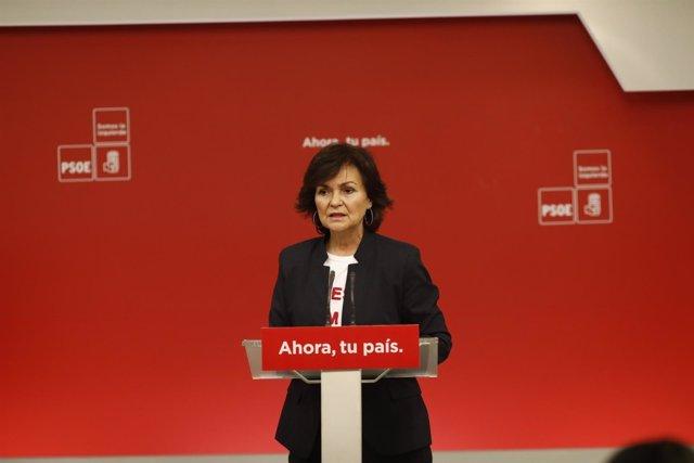 Rueda de prensa de Carmen Calvo en la sede del PSOE