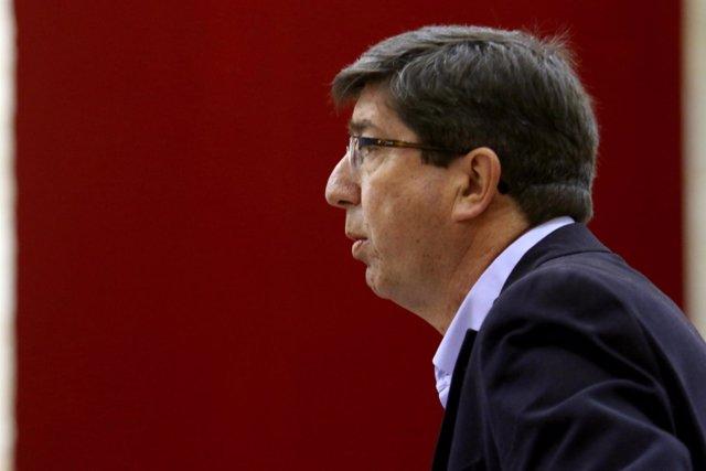 El líder andaluz de Cs, Juan Marín, durante la sesión de control