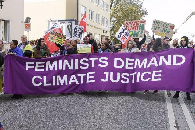 Manifestación feminista cambio climático