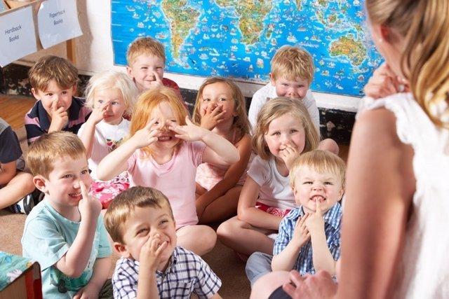 Niños, clase, guardería