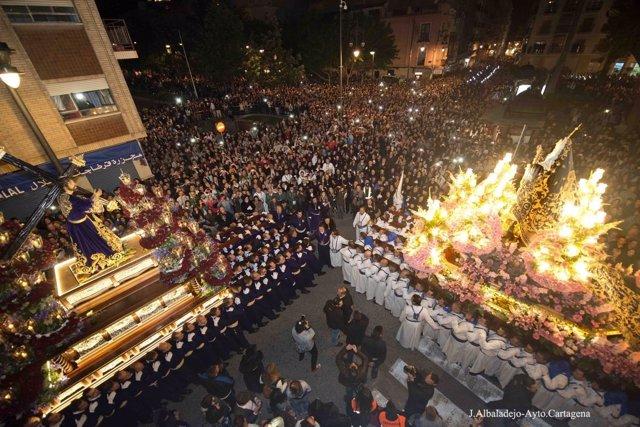 Encuentro en la madrugada del Viernes Santo Semana Santa Cartagena