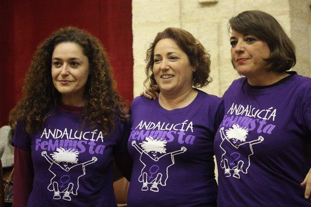 """Las diputadas de IULV-CA en el Parlamento con la camiseta """"Andalucía feminista"""""""