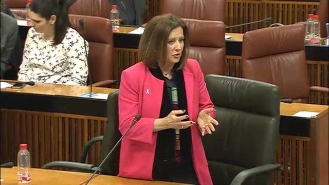 María José Sánchez Rubio en el Pleno del Parlamento