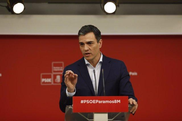 Rueda de prensa de Pedro Sánchez en la sede del PSOE
