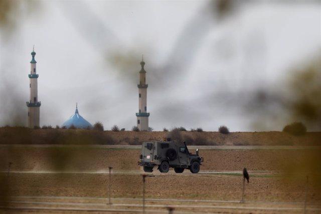 Fuerzas israelíes cerca de la frontera de Gaza