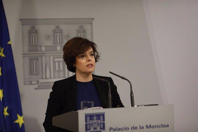Rueda de prensa de Santamaría en Moncloa sobre Cataluña