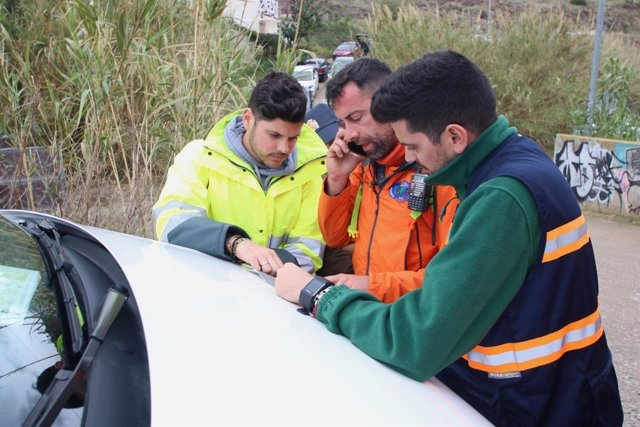 Efectivos durante la búsqueda de Gabriel en Almería
