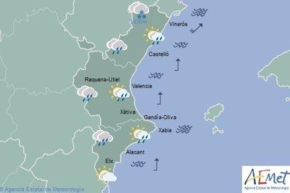 Lluvias matinales y temperaturas en ascenso este jueves en la Comunitat Valenciana