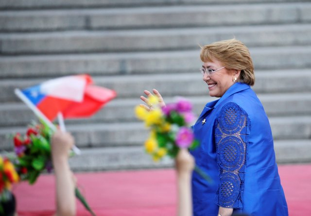 Chilean President Michelle Bachelet attends a welcoming ceremony ahead of the Be