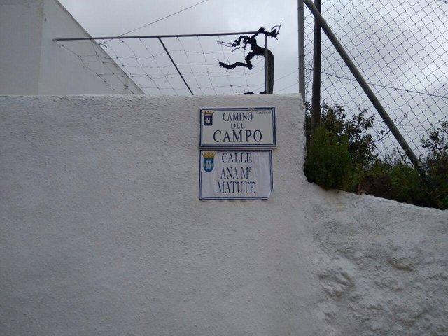 Calle del Campo redenominada como Ana María Matute en Níjar