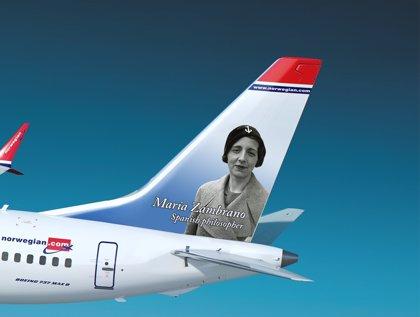 Norwegian decora uno de sus aviones con la filósofa española María Zambrano