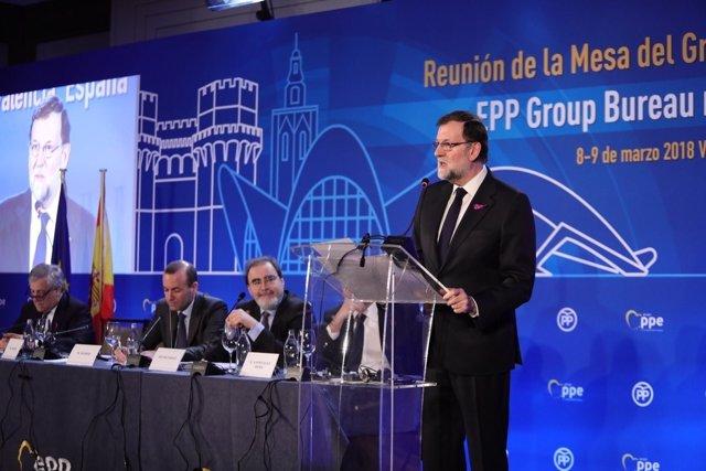 Rajoy interviene en las jornadas del Grupo del PPE en Valencia