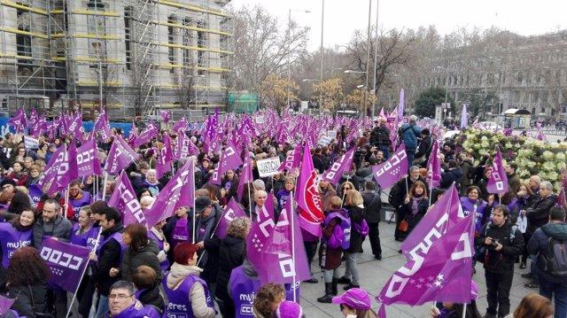 Concentración feminista en Cibeles