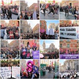 Reivindicación feminista multitudinaria en la plaza del Cardenal Belluga