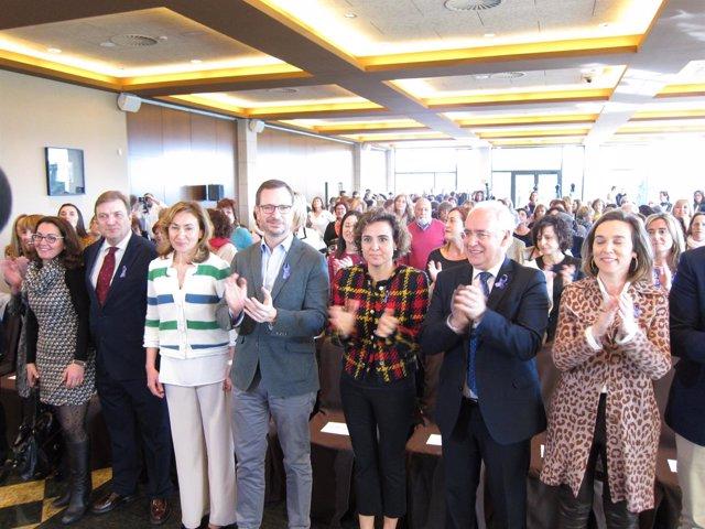 Montserrat, Maroto y Ceniceros en acto PP en Logroño